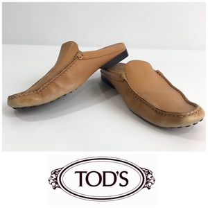 Tod's Tan Leather Mules